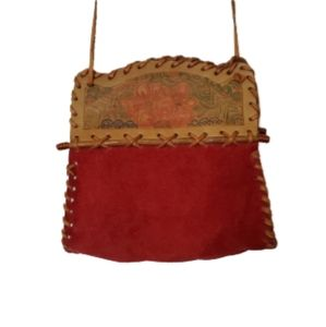 Vintage 70s hand tooled boho Leather/Suede